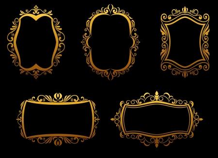 Set of vintage golden frames for luxury design Vector