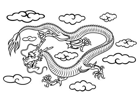asian culture: Drago cinese in nubi in stile cartone animato per la progettazione di cultura asiatica
