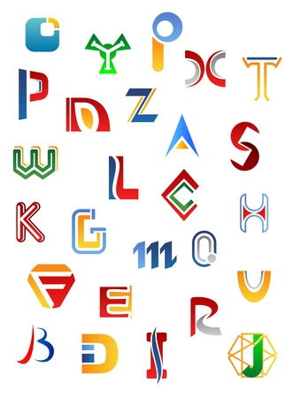 Set of full alphabet symbols and letters Vector