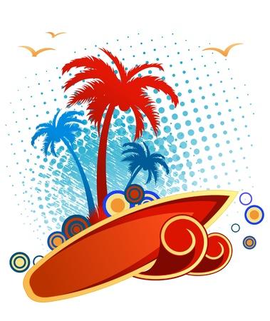 fiesta en la playa: Fondo tropical abstracta con las palmas y puesta de sol Vectores