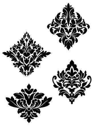damast: Damast-Blumen-Muster f�r Design und verzierten isoliert auf wei�