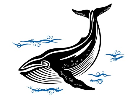 whale underwater: Big whale in sea water in retro style
