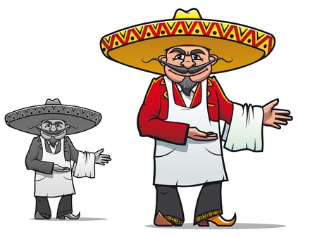 Mexican chef in sombrero for national restaurant design Vector