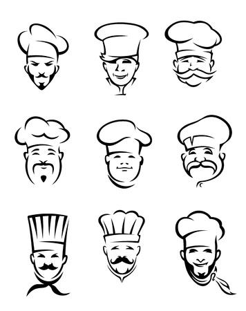 Jeu de chefs cuisiniers de restaurants différents en uniforme pour le menu ou d'une autre conception Vecteurs