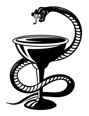 pharma: Medicine symbol - snake on cup in retro style
