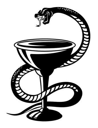 serpent noir: Symbole M�decine - serpent sur une tasse dans le style r�tro