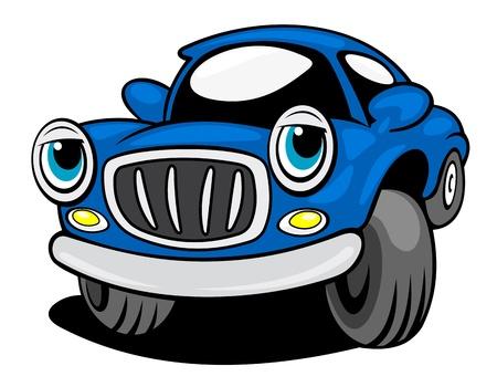 white car: Blu auto divertente con gli occhi isolato su sfondo bianco per il design di trasporto