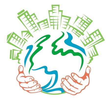 icono contaminacion: La tierra pura en manos de la gente para la ecolog�a o el dise�o de concepto de medio ambiente