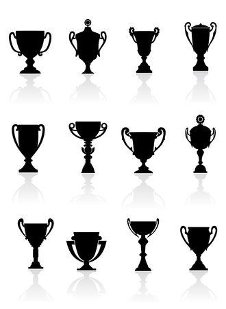 award trophy: Set of sports trophies and awards for success concept design