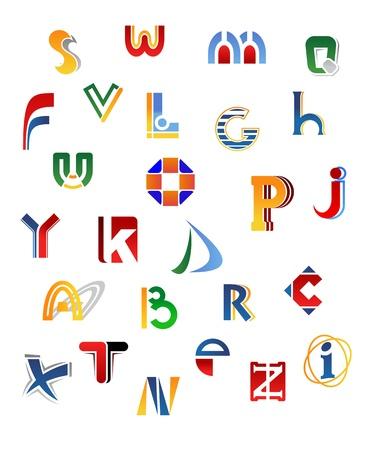 Set of full alphabet letters in different design