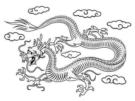 east asia: Oriental eastern dragon in clouds for asian culture design