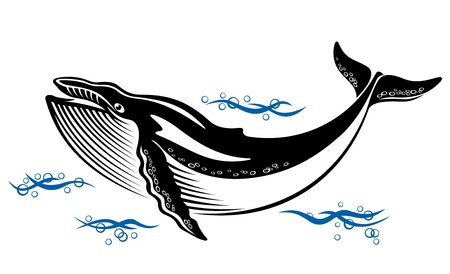 humpback: Big wild whale in ocean water in retro style