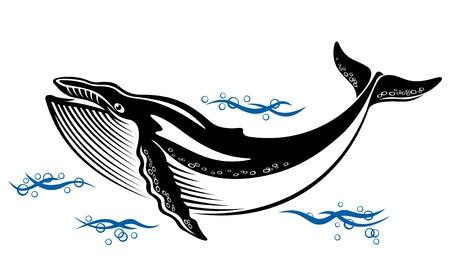 ballena: Gran ballena salvaje en el agua de mar en estilo retro Vectores