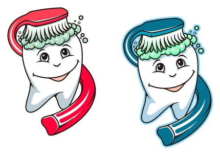 Toothbrush and dental paste for hygiene and healthcare design Vector