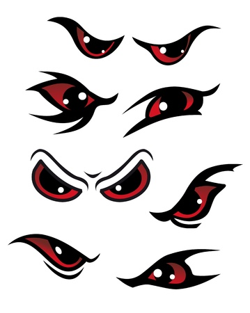 witch face: Danger red eyes set isolated on white background for mystery design Illustration