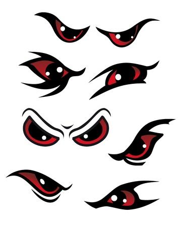 ojos caricatura: Peligro conjunto de ojos rojos sobre fondo blanco para el diseño de misterio