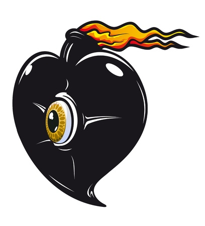 Black heart with fire flames for t-shirt design Vector
