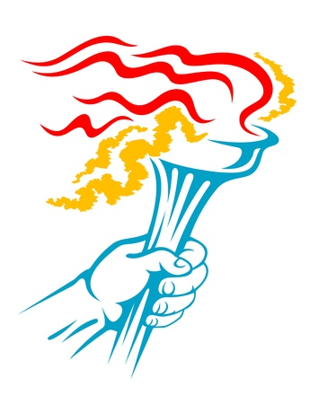 Flaming torch in hand for sports or freedom concept design Vector