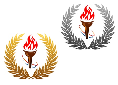 Flaming torch in golden and silver laurel wreath for sports design Vector