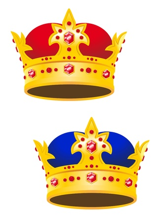 monarchy: Golden king crown with gems isolated on white background