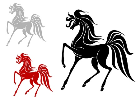hoof: Arabian stallion in three variations isolated on white background