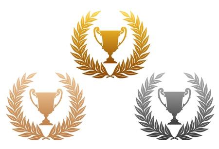 trofeo: De oro, coronas de laurel de plata y bronce con el trofeo para el deporte de dise�o Vectores