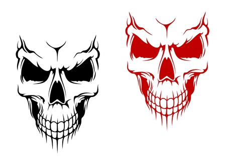 Smiling skull in black and red versions for t-shirt or halloween design Illustration