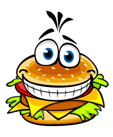 Hamburger appetitoso sorridente nello stile del fumetto per progettazione degli alimenti a rapida preparazione Vettoriali