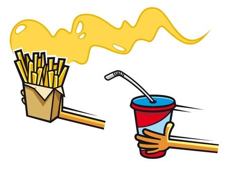 Fresh soda drink and potato snacks in cartoon style Stock Vector - 13726462