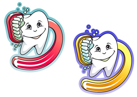 smiles teeth: Toothbrush and paste in cartoon style for hygiene and medical design Illustration