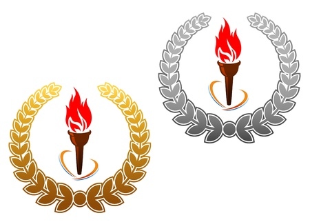 Flaming torch in golden and silver laurel wreath for sports emblems or mascots