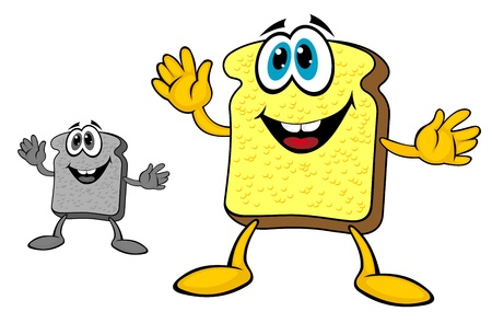 wheat toast: Smiling breakfast toast of bread in cartoon style isolated on white background