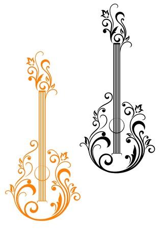gitara: Gitara z kwiatów upiększeń dla muzycznego projektu Ilustracja