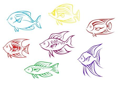 Set of seven aquarium fish silhouettes for design Vector