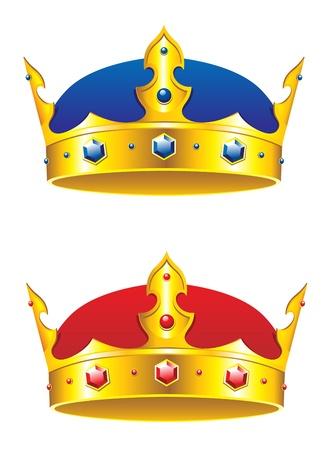 corona de rey: El rey la corona con piedras preciosas y adornos aislados sobre fondo blanco Vectores