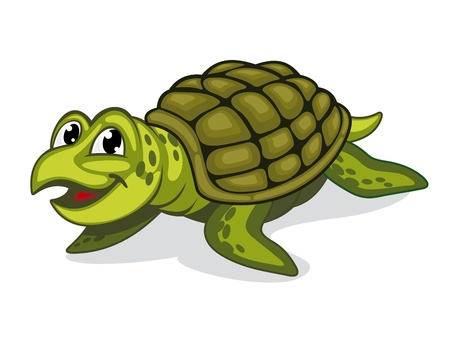 stylistic: Green smiling turtle reptile in cartoon style Illustration