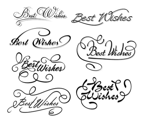 best wishes: Best wishes calligraphic elements for design and decorations Illustration