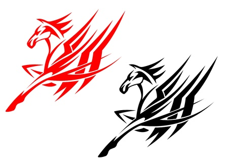 Tribal horse in black and red version for tattoo design Illustration