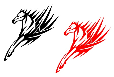 hoof: Tribal horses for tattoo design isolated on white background
