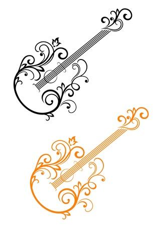 gitarre: Gitarre mit floralen Elementen im Retro-Stil f�r die musikalische Gestaltung Illustration