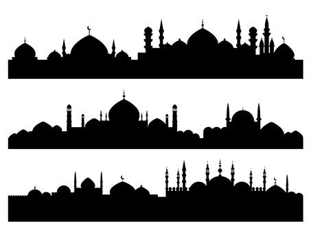 Moslim stadsgezichten geïsoleerd op witte achtergrond voor religieuze ontwerp