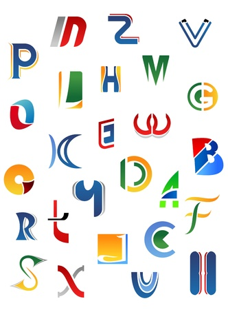 Alphabet letters and icons isolated on white background Vector