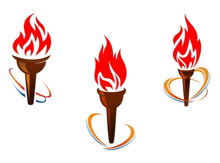 Three torches with fire flames for sports or peace concept design Vector