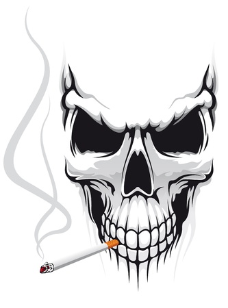 Danger skull smoka a cigarette for t-shirt design Vector