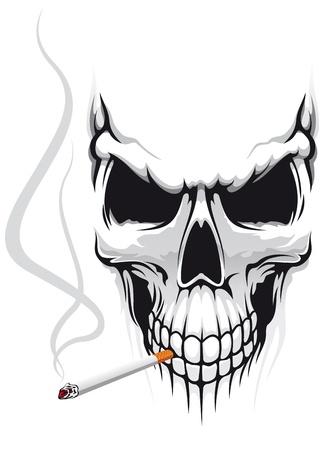 calavera: Peligro cr�neo smoka un cigarrillo para t-shirt de dise�o