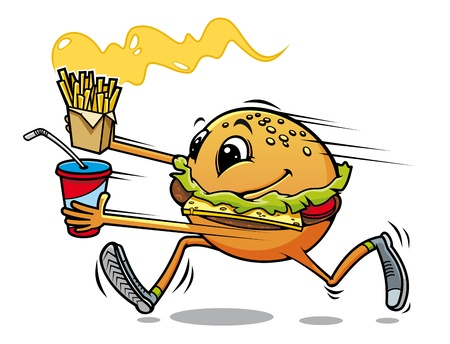 Running hamburger with fresh drink and fried potato for fast food design Vector