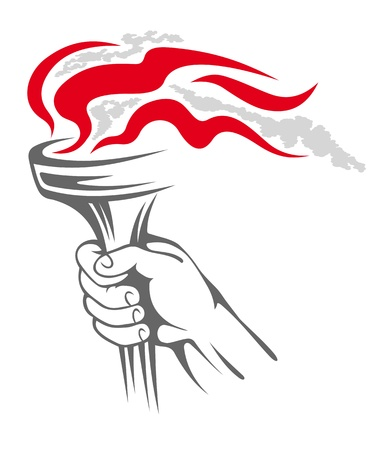 Flaming torch in people hand for sports concept design Vector