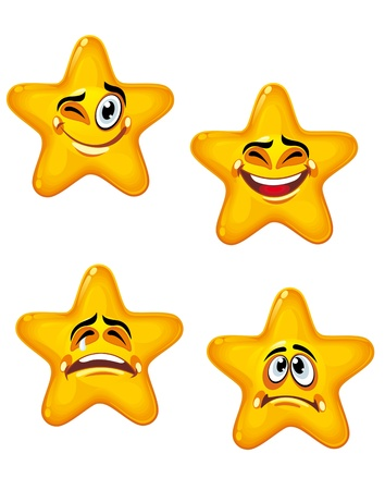 Set of glossy cartoon stars with different emotions Vector