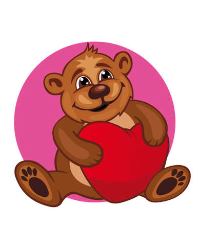 Cartoon bear toy with heart in paws for love concept design Vector