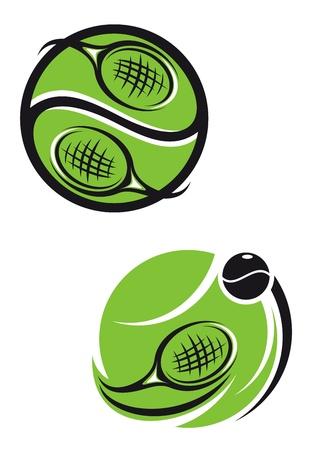 raqueta de tenis: Tenis emblemas y símbolos aislados sobre fondo blanco para el diseño de los deportes Vectores